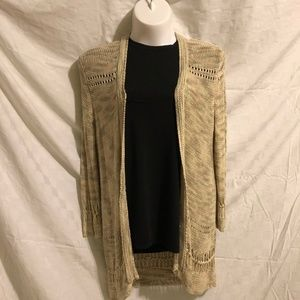Chico's Cardigan Sweater w/ Open Weave Trim, Sz 3